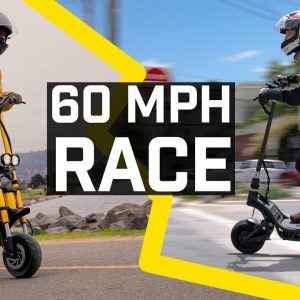 Racing two of the world's fastest electric scooters, NAMI BURN-E vs 60 mph Wolf King